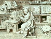 A scribe working hard.