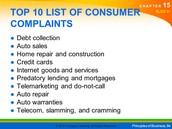 Top 10 List of Consumer Complaints