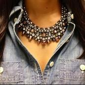 Kahlo Bib Necklace - Hematite