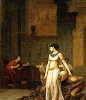 Cleopatra with Caesar at her  feet