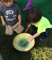 Evan and Rowen lay down a drum beat