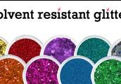Solvent Resistant Glitter Materials