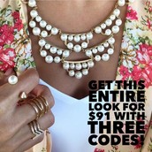 Frances Pearl necklace + Pearl Spike ring + Maylee ring + Pave Chevron ring