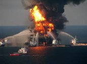Oil Rig Engulfed with Flames