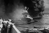 Ship being bombed