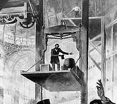 Elisha Otis's elevator prototype.