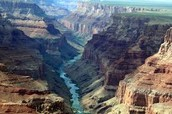 A river going through the grand canyon.