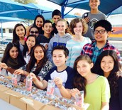 ASB students get ready to distribute ice cream
