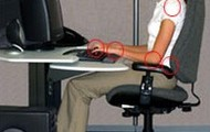 Sit properly on chair when using computer