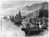 Shoshone people in the Snake river
