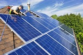Solar panels installed on roof of home