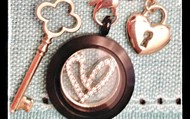 Gold Quatrefoil Key, Gold and CZ window Heart Window Plate, and Gold lock dangle