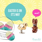 Sweet Gold Chick, Glittery Egg, and a delicious Chocolate Bunny! Yum!