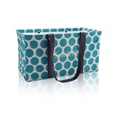 Large Utility Tote in Teal Mod Dot