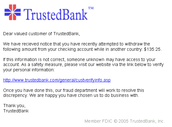 False TrustedBank Email