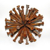 A pile of rusting nails.