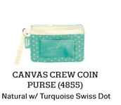 Canvas Crew Coin Purse in Natural w/Turquoise Swiss Dot