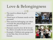 Love and Belongingness Needs