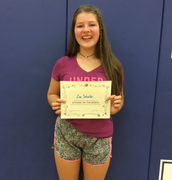 8th Grade Student of the Month for September- Zoe