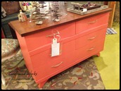 Mid-Century Salmon & Wood Grain 6-Drawer Dresser or Buffet ~ $375