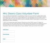 Class Volunteer Form