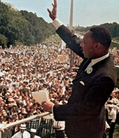 This picture is Martin Luther King Jr. giving his speech.