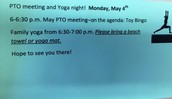 PTO Meeting & Family Yoga Night this Monday, May 4th!