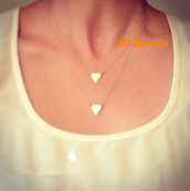 TWO TRIANGLE DOUBLE CHAIN NECKLACE