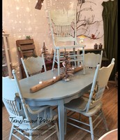 """Green-Gray Chalkpaint Dining Table with 10"""" Extension Leaf ~ $345"""