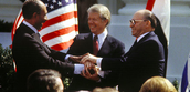 Famous Handshake with Carter and two leaders