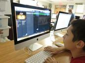 Student using GarageBand