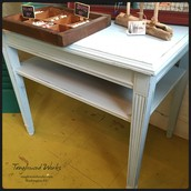 SOLD-Light Blue Occasional Table with Shelf: $65