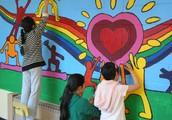 In the Mural Club you will work with others to design and paint murals around the school.