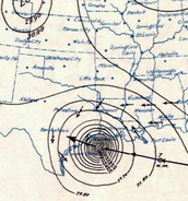 Surface weather analysis of the hurricane