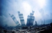 The rubble left behind after the collapse of the Twin Towers