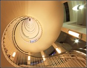 A beautiful winding staircase.