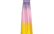 Púrpura, rosa, y amarillo largo Vestido