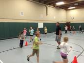 Kids running hard for their 10 minute club!