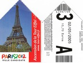 Ticket to enter the Eiffel Tower