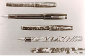 These fountain pens have stone inlays on them,