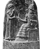King Hammurabi holding staff which is a symbol of power