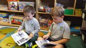 Mason and Ethan partner reading and learning about the lifecycle of an apple tree!