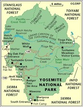 Map and Climate of Yosemite