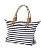 """How Does She Do it"" Bag-Navy Stripe"