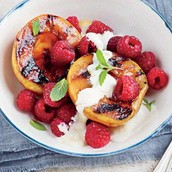 Grilled Peaches w/ Honey Cream