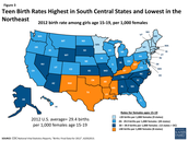 2012 Birth Rate Among Girls Age 15-19, per 1,000 females