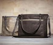 Townsfair Reversible Tote in Charcoal Snakeskin