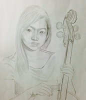 My sister holding a cello drawn by my father
