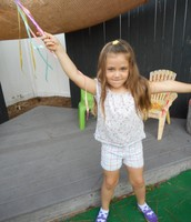 Mila makes her ribbon dance
