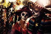 People dressed up for Day of the Dead